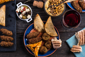 Mediterranean style snack selection