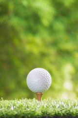 Golf ball on tee pegs