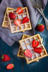 belgian waffles with fresh strawberry