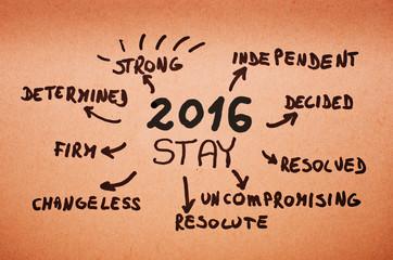 2016 stay- written on orange cardboard.