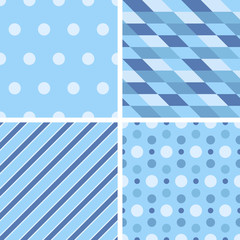 Vector seamless tiling patterns - geometric blue