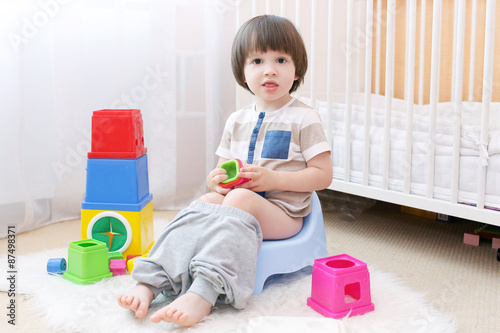 Little Boy Sitting On Potty At Home Stock Photo - Download