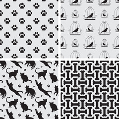 Seamless patterns with cat, bird, dog foot path