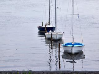Small sailboats moored at sea