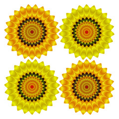 Abstract circular objects resembling stylized sunflowers on a white background