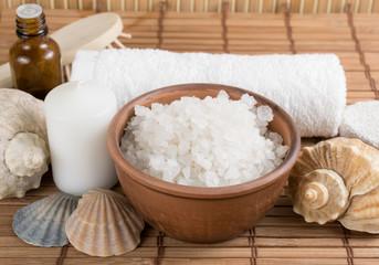 Spa salon with sea salt