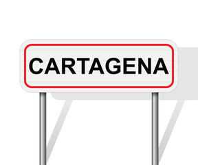 Welcome to Cartagena Spain road sign vector