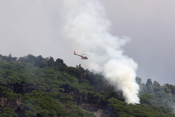 helicopter fire on the fire in the mountains