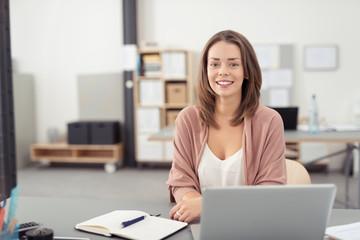 angestellte im büro sitzt lächelnd am schreibtisch