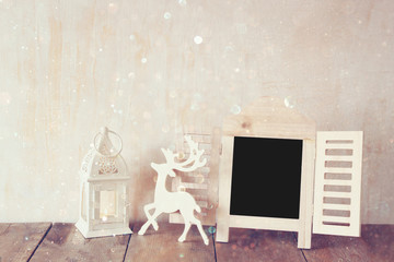 abstract filtered photo of decorative chalkboard frame and deer