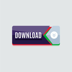 Colorful download web button. Modern flat design.