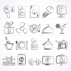 Hotel and motel services icons 2- vector icon set