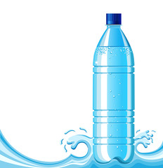 Bottle of clean water and splashing background .Vector illustrat