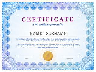 Certificate template with guilloche. Diploma border design