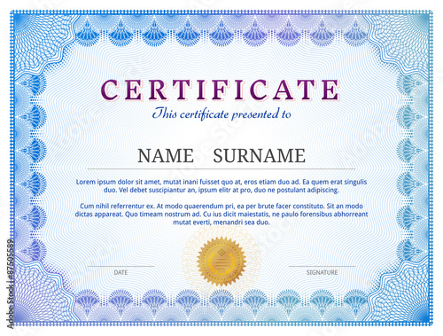 Certificate template with guilloche diploma border design stock certificate template with guilloche diploma border design yadclub Image collections