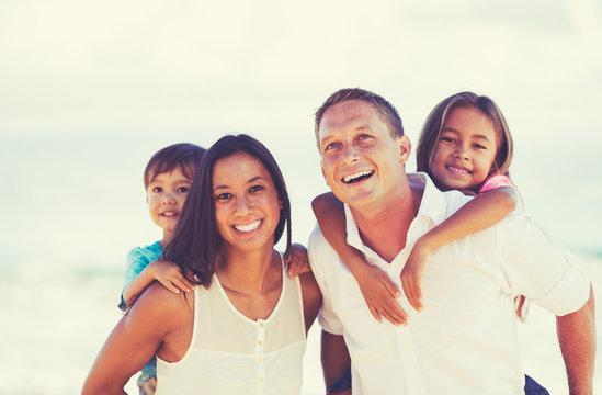 Happy Mixed Race Family Having Fun Outdoors