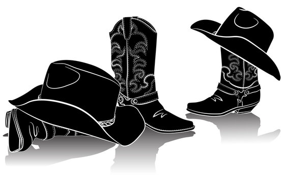 cowboy boots and western hats.Black graphic image on white backg