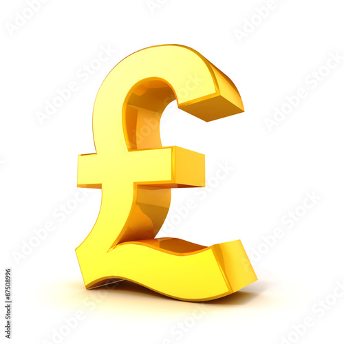 3d Gold Pound Currency Symbol On White Background Stock Photo And
