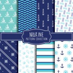 Marine pattern collection. Vector illustration.