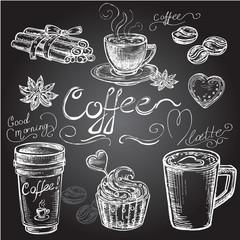 hand drawn set coffee on black Boad