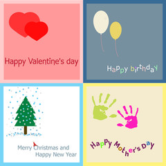 Postcards/Cute greeting card for birthday, Saint. Valentine's Day and New Year