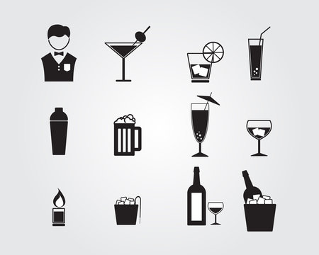 bartender and alcohol drinking icon