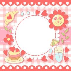Cute photo frame. Baby shower card. Scrapbook elements. Vector illustration.