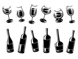 Alcoholic glass collection. Vector
