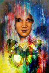 young girl angelic face and a butterfly. Structure and color Co