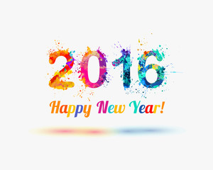 Congratulation vector card. Happy New Year 2016. Colorful watercolor splash. Holiday