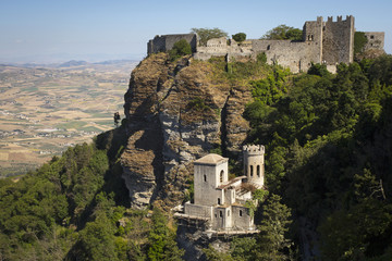 Medieval castle on the hillside in Erice.