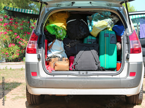 luggage and suitcases in car for departure for summer holidays stock photo and royalty free. Black Bedroom Furniture Sets. Home Design Ideas