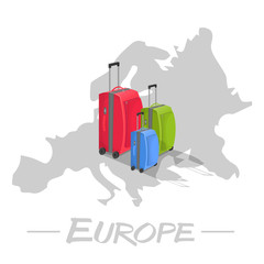 Colored suitcases on map of Europe