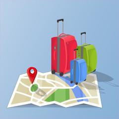 Suitcases on map destination