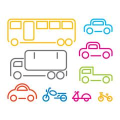 Vehicle icon set, vector