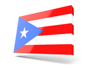 Square icon with flag of puerto rico