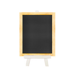 Menu Blackboard on white easel isolated on white background