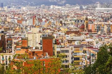 Panorama of Barcelona from Montjuic. Barcelona, Catalonia, Spain