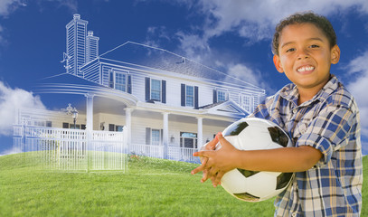 Mixed Race Boy Holding Ball with Ghosted House Drawing Behind