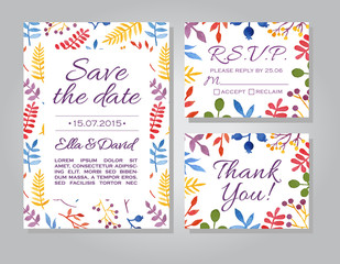 Vector wedding invitation card set with floral watercolor backgr