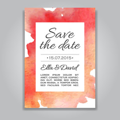 Vector wedding invitation card with watercolor background.