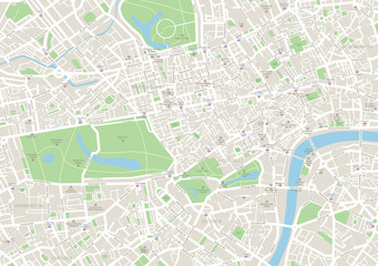Highly detailed vector map of London.It's includes streets, parks, names of subdistricts, points of interests.