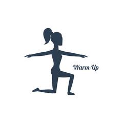 Girl Squatting Morning Exercise Sport  Black Icon