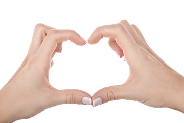 Woman hand shows heart