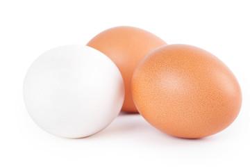 Three eggs on white background