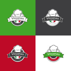 Vector retro badge for pizza restaurant. Italian restaurant