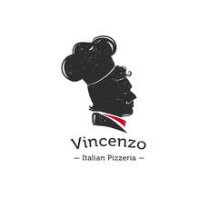 Vector retro logo for Italian restaurant.  Cook head silhouette