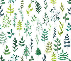 Vector green watercolor floral seamless pattern.