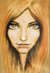 Watercolor illustration-beautiful woman with yellow eyes painted on a wood.