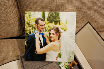 gray and brown textile velvet wedding book and album with pictur